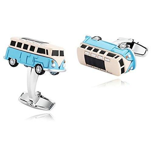 Daesar 1 Paar Herren Edelstahl Manschettenknöpfe Blau Gelb Bus Manschettenknopf 2.5 x 1.1 cm