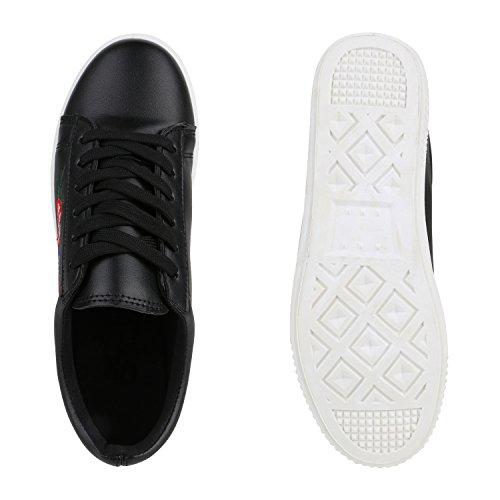 Stiefelparadies Damen Sneakers Blumen Sneaker Low Stickereien Sportschuhe Schnürer Schuhe Leder-Optik Metallic Kappe Flandell Schwarz Blumenmuster