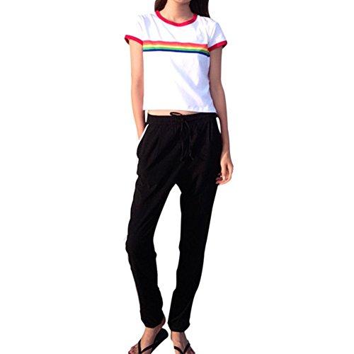 ROPALIA Damen Sommer T-Shirt Kurzarm Rundhals Basic Shirt Regenbogen Oberteile Weiss Top