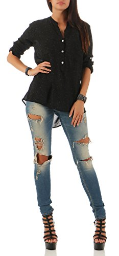 Shirt 6709 Schwarz. Malito Damen Bluse mit Blumen Print | Tunika mit ¾ Armen  | Blusenshirt IM Vintage Look