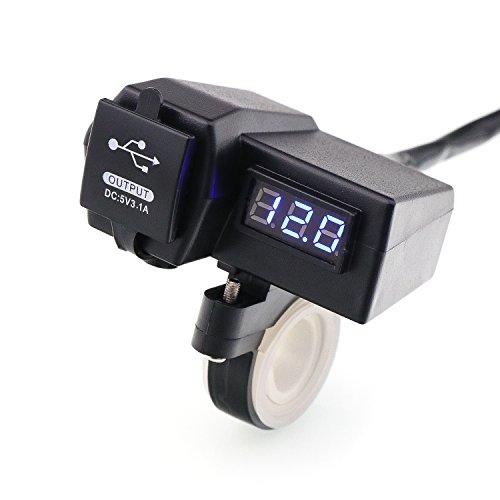Timloon impermeabile moto 5V 3.1A Dual USB caricatore & blu voltmetro tensione per 7/8e 2,5cm manubrio montaggio