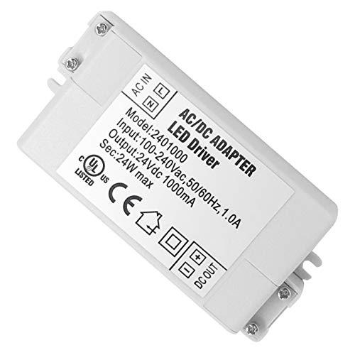 VARICART IP44 24V 1A 24W LED Treiber, Universal Reguliertes AC DC Schaltnetzteil, Konstanter Spannungswandler Adapter für CCTV Kamera Neonleuchte G4 MR11 MR16 GU5.3 Glühbirne (1-er Packung) - 120v 36 Led-glühbirne