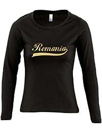 Romania Oldschool Rumänien LÄNDERSHIRT EM / WM FAN Trikot - Damen Langarm Longsleeve T-Shirt S-XL