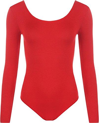 WearAll - Damen body elastisch langarm Bodysuit Top - Rot - 36-38 (Body Top Shirt)