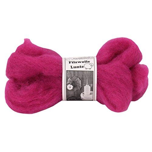 Filz-Wolle pink 2er Pack, Lunte-Set je 2m, 30 – 40 mm breit, ca. 60g ✓ 100% Schafschurwolle ✓ Nass-filzen & Trocken-filzen ✓ wasserfest lichtecht farbecht Bastel-Filz | trendmarkt24 – 7730281