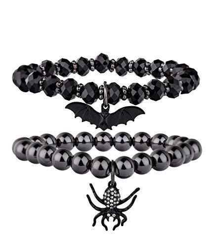 SIX Armbänder: Armreif 2er-Set mit Glitzersteinen, Perlen, Fledermaus-/Spinnen-Anhängern, perfekt für Halloween/Karneval, schwarz/anthrazit (748-703)