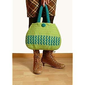 Handtasche gehäkelte Tasche Damenhandtasche Frauentasche gefilzte Tasche Henkeltasche grün und türkis mit Blumen aus hochwertiger Wolle.