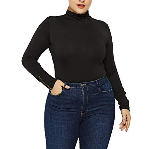 Zarupeng Übergröße Damen Einfarbig Bodysuit Stehkragen Langarm Dünne Stretch Jumpsuit mit Reißverschluss Basic Overall
