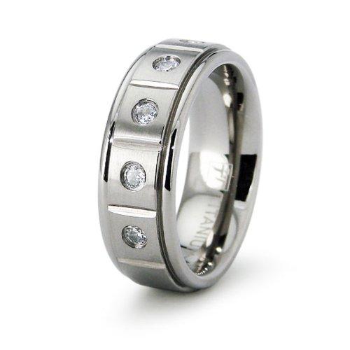 Incisione personalizzati signore titanio fede nuziale con zirconi, misura 17