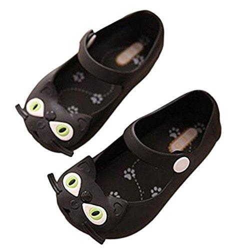 Meijunter Filles Garçons Bébé Chat Antidérapant Souples Gelée Tête de poisson Chaussures Plates Bambin Enfants Plage Sandals Pluie Bottes Noir