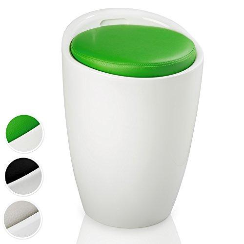 TecTake Taburete de baño Asiento Redondo Moderno Silla Cesta de Ropa con Espacio (Blanco Verde | No. 402078-3)