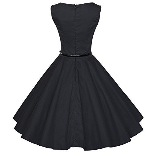 Maggie Tang ANNÉES 5060's Vintage Audrey Hepburn Swing Rockabilly Boule Peignoir Robe Noir - Noir
