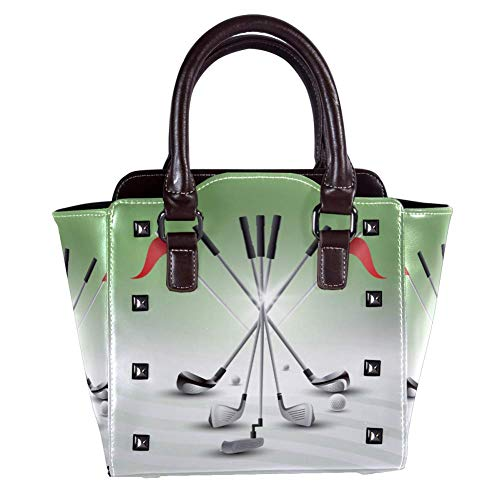 Nananma Handtasche mit Tragegriff, Schultertasche für Damen, Leder, mit realistischem Golfschläger-Set bedruckt, Umhängetasche, Kuriertasche, Hobo-Tasche, Handtasche