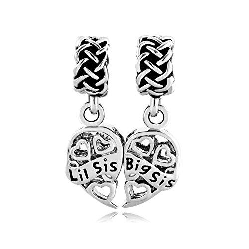 Korliya big sis lil sis charm pendente a forma di cuore con perline per braccialetti, rame, cod. emw_dpc_fa403