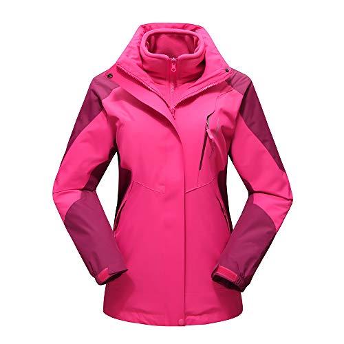 Deloito Paar Jacke Herbst Winter Windbreaker Herren Damen Draussen Sport Übergangsjacke Mit Kapuze Reißverschluss Wasserdicht Atmungsaktiv Mantel (Pink,XXX-Large)