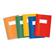 HERMA Exercise Book Cover A5, with Inscription Label, Made of wipeable and Sturdy Plastic, Slip on Cover Jackets for School, Pack of 5, Assorted Colours, 20213