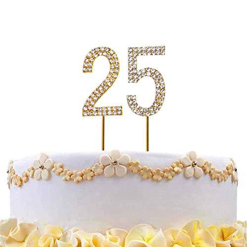 Gifts 4 All Occasions Limited SHATCHI-813 - Decoración para tarta con diseño de número 25, color dorado