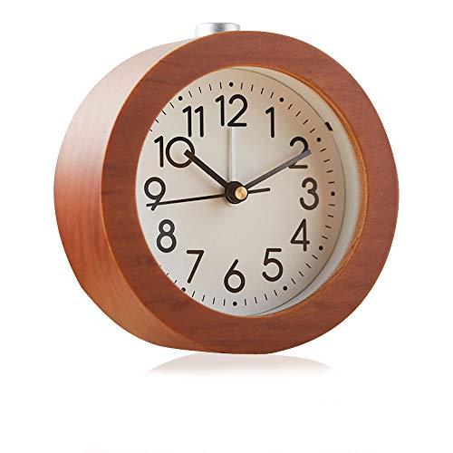 Redondo Reloj Despertador Analógico de Madera Luz Nocturna Despertador Ultra Silencioso Despertador retro Despertador Despertador Reloj Despertador Creativo Multifuncional/Diseño de Roble /Marrón