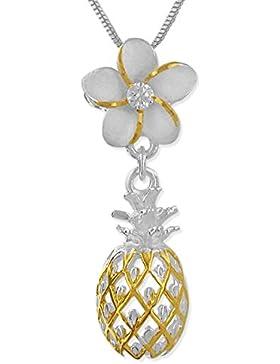 Sterling Silber mit 14kt Gelb Vergoldet Akzente Synthetik CZ Plumeria Dangling Ananas Anhänger Halskette, 18...