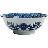 Tazón de sopa de cerámica de 8 pulgadas Tazón de fuente de Ramen de porcelana azul y blanco de la vendimia Tazón de fuente de ensalada creativo de estilo japonés Vajilla pintada a mano de cerámica