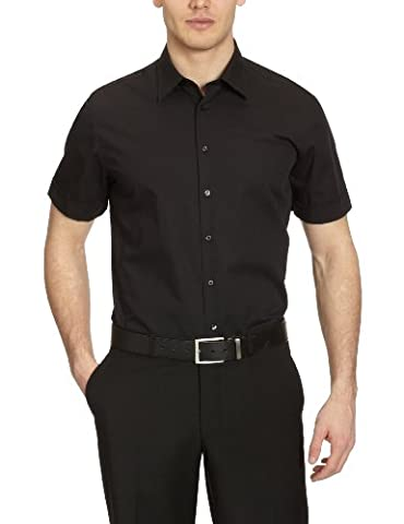 Seidensticker Herren Businesshemd Tailored Kurzarm mit Kent-Kragen bügelfrei,Schwarz (Schwarz 84),42