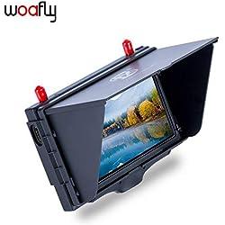 LHI woafly FX508 FPV Moniter Hohe Helligkeit 5 Zoll 800x480 5,8 GHz Diversity Receiver Monitor mit DVR und HD Port mit Sonnenschirm