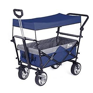 Sekey Chariot Pliant avec toit Chariot de transport avec freins Chariot de Plage Chariot de Jardin Pliable pour Tous Les terrains, Bleu