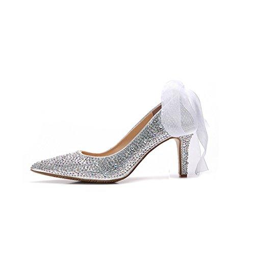 Scarpe da Donna - Scarpe da Sposa Scarpe con Tacco Alto di Strass Punta in Cristallo da Sposa - Scarpe da Sposa da Donna (Colore : with High 5cm, Dimensioni : 38-Shoes long240mm)
