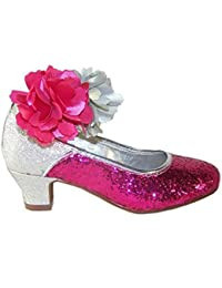 Niña rosado y plateado tacón bajo zapatos fiesta