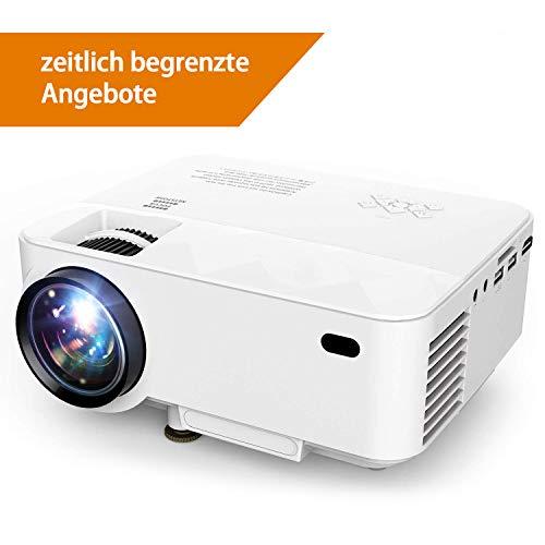 Proiettore,T21 1800 Lumen Mini Videoproiettore da con HDMI Gratuito,potete collegare lo smartphone o l'iPad un cavo USB,Home Theater Multimediale con Supporto HD 1080P VGA AV per Home Cinema