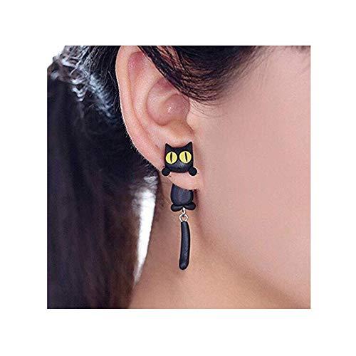 auen-Bolzen-Ohrringschmucksachen, handgemachter Ohrring für Mensmädchen Kinder-Schwarzes (Schwarz) ()