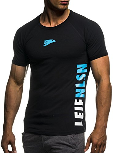 LEIF NELSON Gym Herren Fitness T-Shirt Slim Fit | Moderner Männer Bodybuilder Trainingsshirt Kurzarm Top | Herren Sport T-Shirt - Bekleidung für Bodybuilding Training | 6279 Schwarz-Blau Large