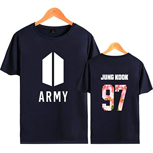 SIMYJOY Lovers Army Bangtan Boys BTS Fans Maglietta Cool KPOP Hip Pop Top per Uomo Donna Teen blu 97 Jung Kook