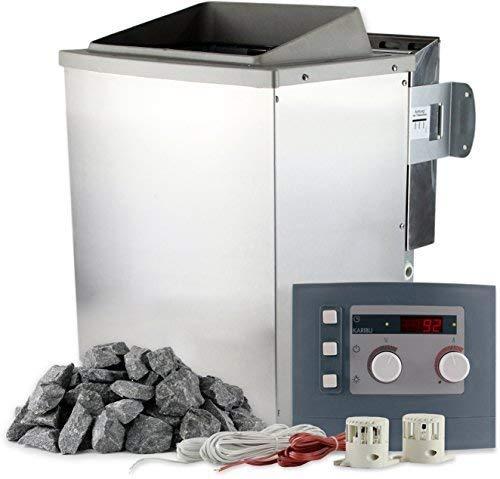 Karibu Saunaofen Bio 9 kW mit Steuerung und 20 kg Saunasteine 400 V Bio-Kombiofen inkl. Verdampfer...