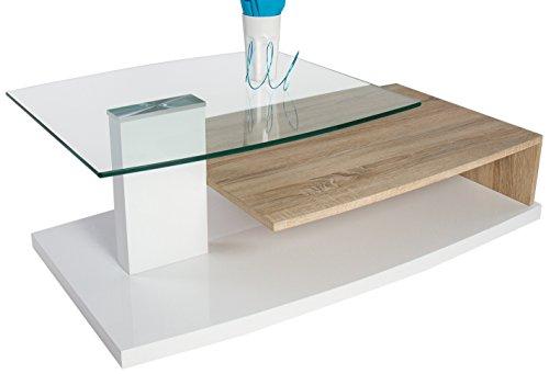 Couchtisch wei hochglanz rollen for Moderner design couchtisch pull sonoma eiche hochglanz weiss 120 cm