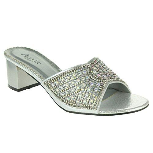 Frau Damen Sparkly Diamant Blockabsatz Schlüpfen Abend Hochzeit Party Prom Sandalen Schuhe Größe Silber