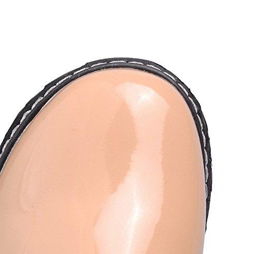 AgooLar Damen Schnüren Lackleder Rund Zehe Niedriger Absatz Rein Pumps Schuhe Aprikosen Farbe