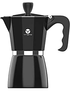 Vremi Stovetop Espresso Maker - Moka Pot Coffee Maker for Gas Electric and Portable Induction Stove Top - 6 Cups Demitasse Espresso Shot Maker for Express Italian Espresso Cappuccino or Latte - Black (Black)