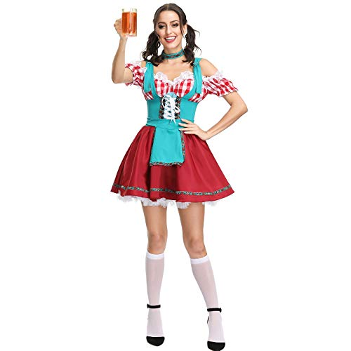 Kostüm Bar Wench - Story of life Halloween Kostüm Oktoberfest Maid Europa Und Amerika Spiel Uniform Cosplay Bar Kellner Performance Kleid,Red,M