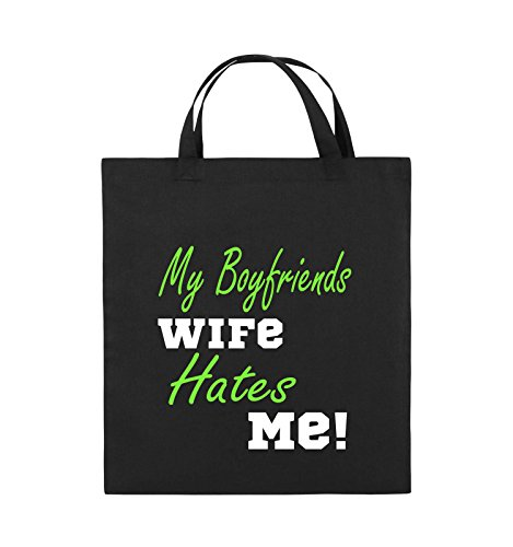 Comedy Bags - My boyfriends wife hates me! - Jutebeutel - kurze Henkel - 38x42cm - Farbe: Weiss / Rosa-Violet Schwarz / Weiss-Neongrün