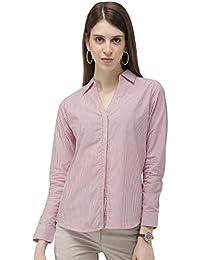 Ombré Lane Women's Red and White Stripes V-Neck Cotton Full Sleeves Shirt.