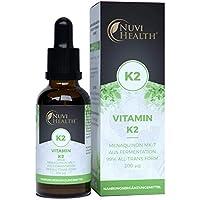 Vitamin K2 MK7-200 µg pro Tagesdosis - 1700 Tropfen = 50 ML - Pflanzliches Menaquinon 99+% All Trans - Laborgeprüft - In MCT-Öl aus Kokos- Ohne unerwünschte Zusätze - Vegan - Hochdosiert - Flüssig
