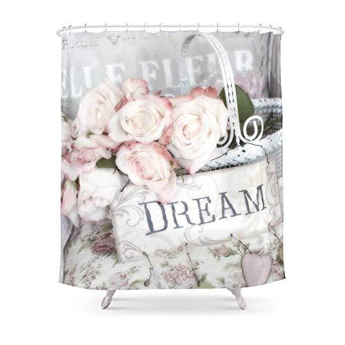 Suminla-Home Bad Shabby Chic Korb Dream Rosen Vorhang für die Dusche 182,9cm von 182,9cm - Vorhang Liner Dusche Klar