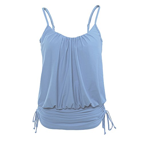 Uranus Damen Spaghetti Gurt Kordelzug Polsterung Swimdress Tankini Oben Bandage Hellblau (Badeanzug Kordelzug)