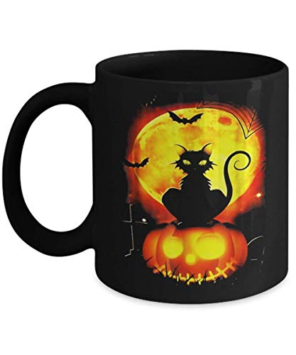 Black Cat Pumpkin Moon Halloween - Funny Happy Halloween Day Coffee Mug Gift Kaffeetasse Mugs - Halloween Great Gifts Idea for Men, Women, Kids, Mom, D