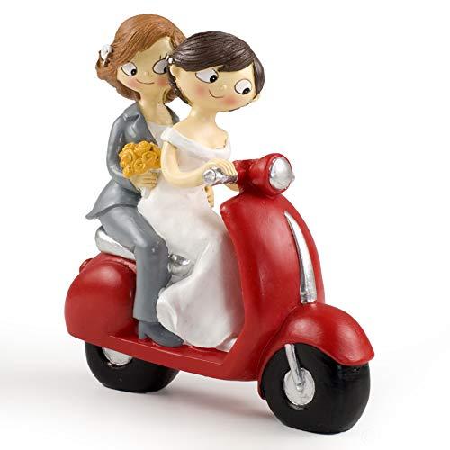 Mopec Figura de Pastel Pareja de Novias Pop & Fun en Moto,...