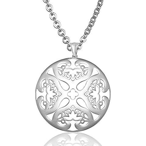 Silver Uomo Collana catena dell'acciaio inossidabile cava cuori Four Leaf Clover Larghezza nastro di AieniD - Clover Nastro