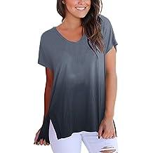 YanHoo Camiseta de Verano de Las señoras con Cuello en v gradiente de Manga Corta Camisa