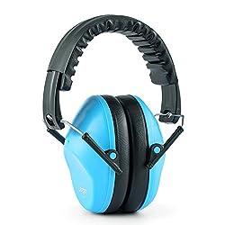 Langley Earo passiver Kinder-Kapselgehörschutz Ohrenschützer Gehörschutz für Veranstaltungen mit hohem Lärm 1-16 Jahre größenverstellbar (Dämmwert SNR 35 dB, umschließende Ohrpolster, faltbar) Blau