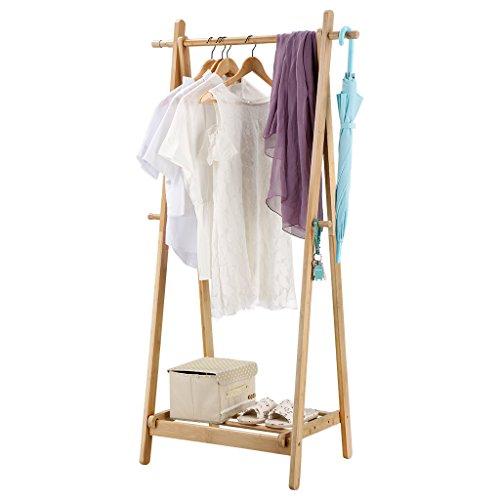 Valet Haken (langria faltbar Bambus Kleidung Wäsche Ständer mit 2seitlichen Haken unten Schuh Ablage für extra Stauraum A-Frame Design Garment Ständer, Bambus Farbe Natur)